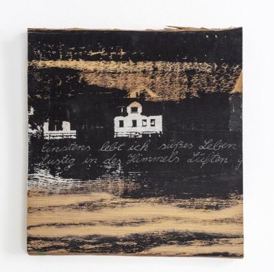 Siebdruck, Gouache, Brandmalerei auf Holz, ca. 35 x 33 cm